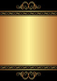 Gold background. Gold and black background with ornaments Royalty Free Stock Photos