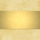 Gold background with blank shiny golden ribbon lay. Abstract gold background yellow warm colors with sponge vintage grunge background texture, distressed rough royalty free stock photo