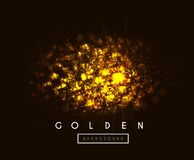 Gold background with bokeh vector illustration on black. Gold background with bokeh. Vector illustration on dark background stock illustration