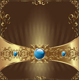 Gold Background Card. Beautiful golden vector ornament with a bright pearl in the middle. Gold card with a magnificent vintage decorative ornament in the old Stock Photography