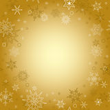 Gold background - vector christmas card with snowflakes Stock Images