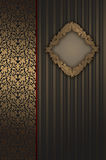 Gold background with decorative ornament and elegant frame. Royalty Free Stock Photos