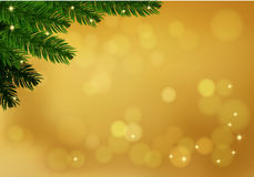 Gold background with fir branch. Holiday blurred background decorated with spruce branch. Vector Stock Images