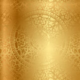 Gold background with floral decoration. Vector gold background with floral decoration Stock Photography
