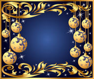 Gold background frame festive ball winter Royalty Free Stock Photos