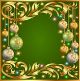 Gold background frame festive ball winter Royalty Free Stock Image
