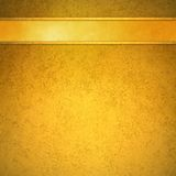 Gold background with gold ribbon and trim header Stock Image