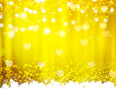 Gold background with hearts and lights Royalty Free Stock Photography