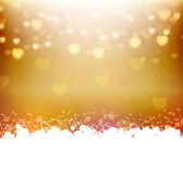 Gold background with hearts and text frame Stock Photos