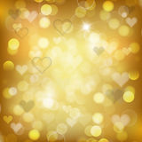 Gold background with hearts. Vector illustration for Valentine's day and Christmas posters, icons, Valentine's day and Christmas greeting cards, print and web Royalty Free Stock Image