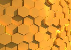 Gold background of hexagons. Gold textured abstract background composed of a close-packed array of hexagons Royalty Free Stock Photo