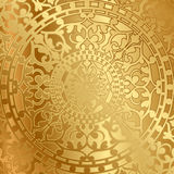 Gold background with oriental decoration stock illustration