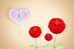 Gold background With red flowers And clock on Valentine's Day. Royalty Free Stock Photography