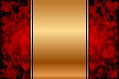 Gold background with red hearts Stock Images