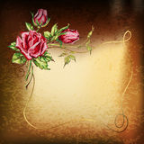 Gold background with roses Royalty Free Stock Image