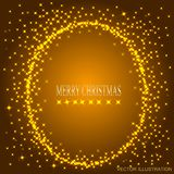 Gold background with round frame from stars. Vector illustration. Gold background with round frame from stars. Illustration for holidays merry christmas and new stock illustration