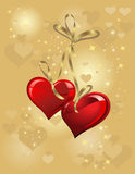 Gold background with two heart Royalty Free Stock Image