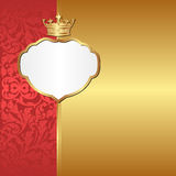 Gold background. Vintage background with crown - vector illustration Stock Photography