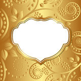 Gold background. With vintage frame and transparent space insert stock illustration