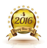 Gold badge Happy New Year. Gold badge 2016 Happy New Year royalty free illustration