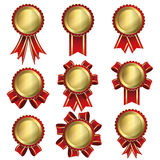 Gold badge label and red ribbon stock illustration
