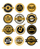 Gold Badge and labels. EPS 10 file and large jpg included royalty free illustration