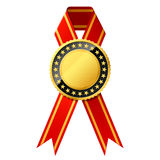 Gold badge with red ribbon Royalty Free Stock Images