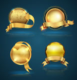Gold badge ribbon set. Vector illustration. Can use for guarantee and sale tag banner Stock Images