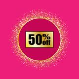 Gold badge sales on a pink background. Gold glitter vector illustration