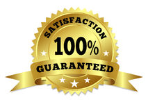 Gold Badge Satisfaction Guaranteed With Ribbon. Vector gold circular label badge with text 100 percent satisfaction guaranteed, medal with ribbon and stars on stock illustration