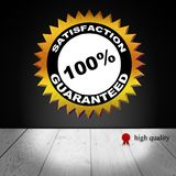 Gold Badge Satisfaction Guaranteed. Vector gold circular label badge with text 100 percent satisfaction guaranteed stock illustration