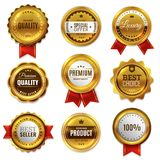 Gold Badges Seal Quality Labels. Sale Medal Badge Premium Stamp Golden Genuine Emblem Guarantee Round Vector Set Royalty Free Stock Photography