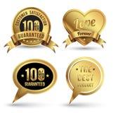 Gold badges set promotion guarantee Royalty Free Stock Photo