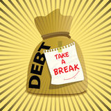 Gold bag of debt to take a break Royalty Free Stock Photography