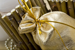 gold bag for a gift Royalty Free Stock Photography