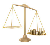 Gold balance. Something cheaper than money. Isolated Stock Images