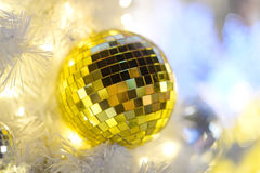 Gold ball and bokeh Royalty Free Stock Images
