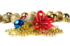 Gold ball with bow Stock Images
