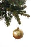 Gold ball on a christmas tree Stock Photos