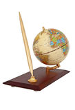 Gold ball pen and globe Royalty Free Stock Photos