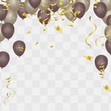 Gold balloon on background. Frosted party balloons for event des. Ign. Balloons isolated in the air. Party background. vector illustrator EPS10 Stock Image