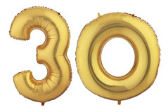 Gold Balloon Thirty Stock Image