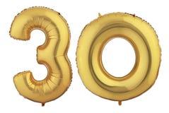 Gold Balloon Thirty Stock Image