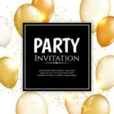Gold balloon vector background. Gold balloon vector illutration. Party design background Stock Images