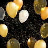 Gold balloon vector background. Gold balloon vector illutration. Party design background Stock Photos