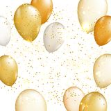Gold balloon vector background. Gold balloon vector illutration. Party design background Royalty Free Stock Photos