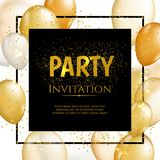 Gold balloon vector background. Gold balloon vector illutration. Party design background Royalty Free Stock Images