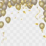 Gold balloons and confetti party background, concept design. Cel. Ebration Vector illustration Stock Photo