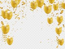 Gold balloons and confetti party background. Concept design. Celebration Vector illustration Royalty Free Stock Photography