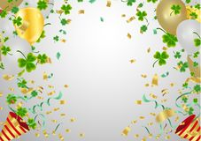 Gold balloons and confetti party background and golden beads on. White background. Space for text. St.Patrick`s day holiday symbol stock illustration